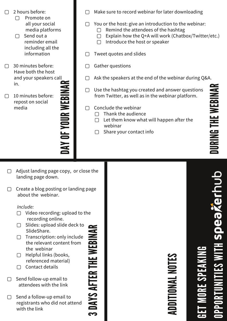 The comprehensive webinar checklist | SpeakerHub
