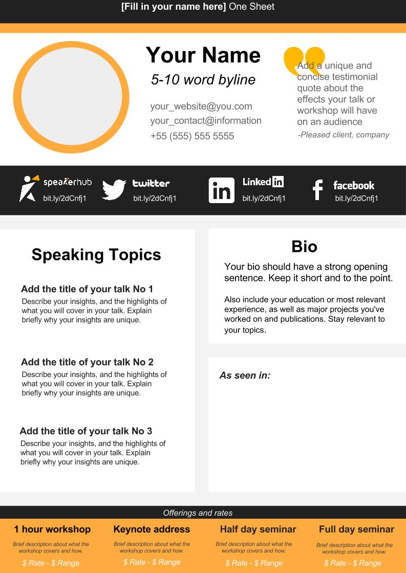 Speaker One Sheet Template | SpeakerHub