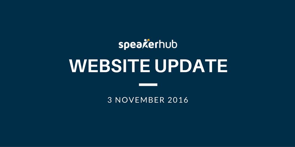 SpeakerHub website Update: November 3rd