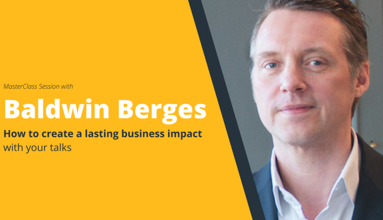 """SpeakerHub MasterClass: """"Create a lasting business impact with your talks"""" with Baldwin Berges"""
