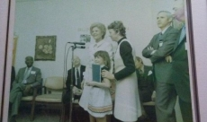 My first speaking opportunity with then First Lady Pat Nixon