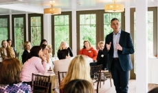 """Tim leads, """"Leverage Your Strengths During Transition,"""" for a professional women's association chapter event"""